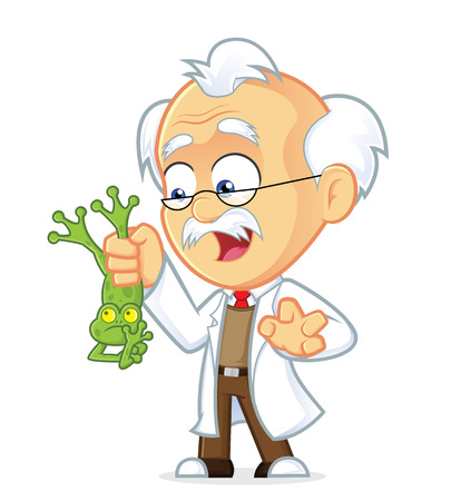 Professor Holding Frog Stock Vector - 26768400