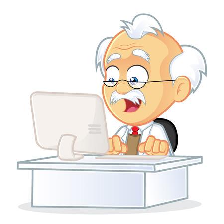Profesor que se sienta delante de un ordenador Vectores