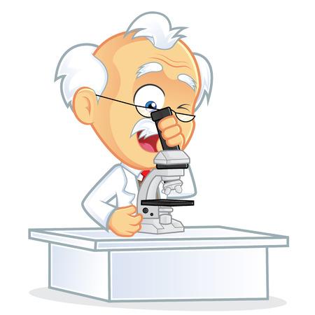 Met een microscoop Stock Illustratie