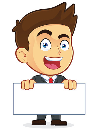 sales executive: Businessman Holding a Blank Sign Illustration