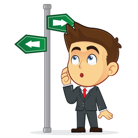 Businessman Looking at a Sign That Points in Many Directions Stock Illustratie