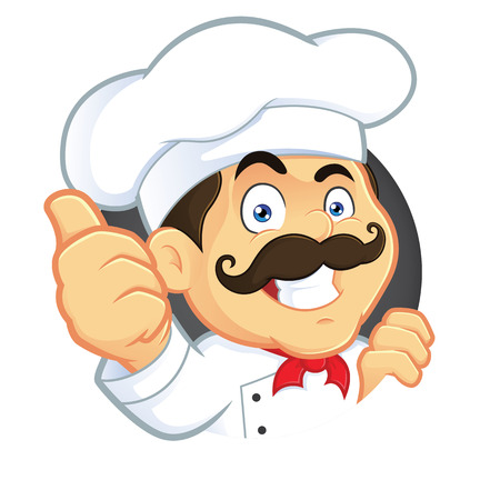 gourmet cooks: Chef Giving Thumbs Up Illustration