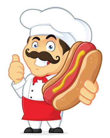 mustard: Chef Holding Hot Dog Illustration
