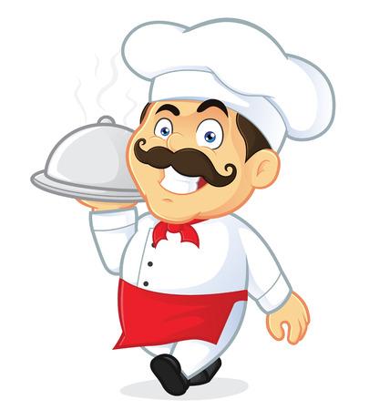 happy chef: Chef Holding Silver Cloche Illustration