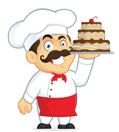 �pastries: Cocinero con pastel de chocolate