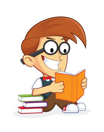 dork: Nerd Geek Reading Book Illustration