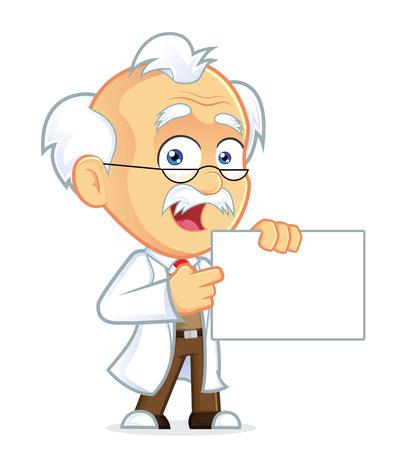 Professor Holding a sign Stock Illustratie