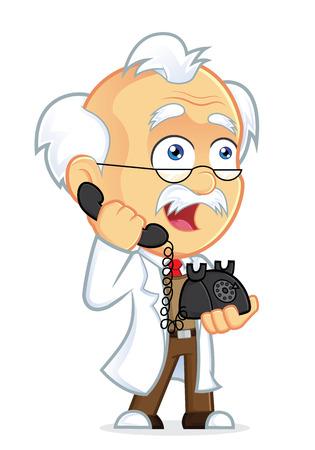 Professor Talking on the Phone Illustration