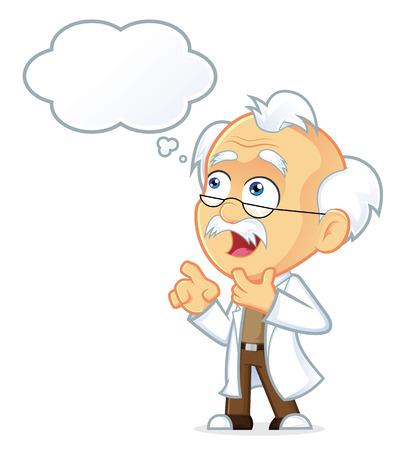 Professor Thinking with White Bubble Stock Illustratie
