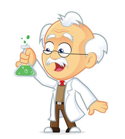 Professor with Lab Glass Vector