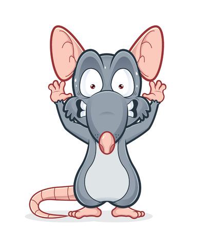 rata caricatura: Rata Scared Vectores