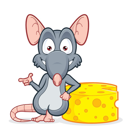 Rat leaning on a cheese Illustration