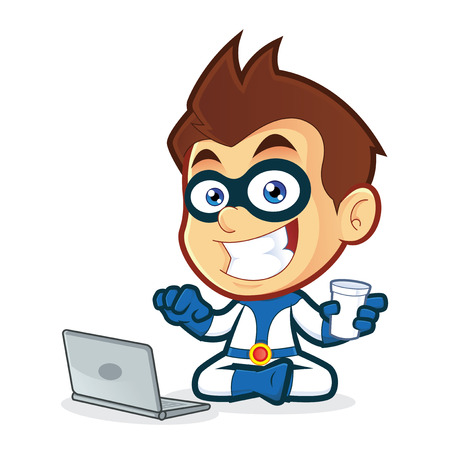 Superhero with Laptop Vector