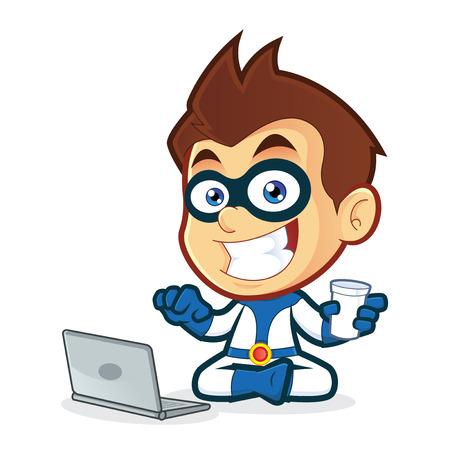 Superhero with Laptop