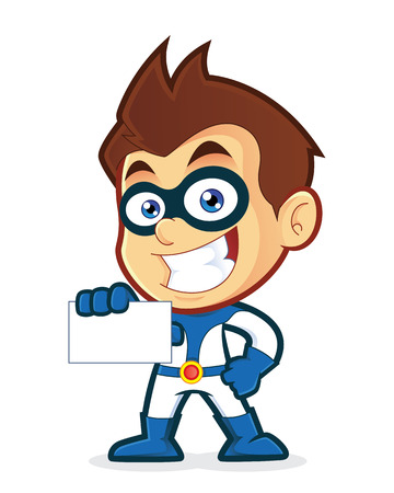 carte de visite vierge: Superhero tenant une carte de visite vierge Illustration