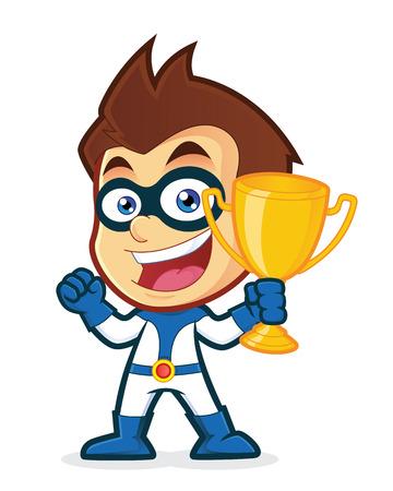 Superhero la celebración de una taza del trofeo