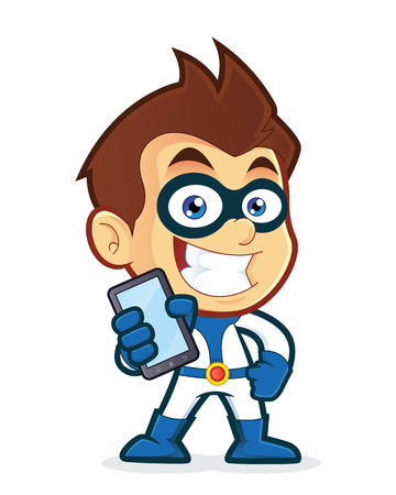 man on cell phone: Superhero holding smartphone