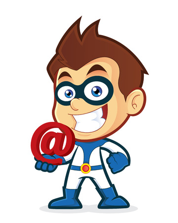Superhero holding an email at Ilustrace