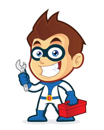 handy men: Superhero holding tools