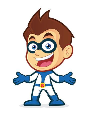 Superhero in welcoming gesture Illustration