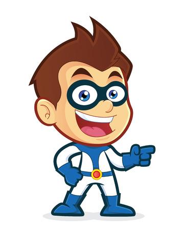 Superhero pointing his finger Stock Illustratie