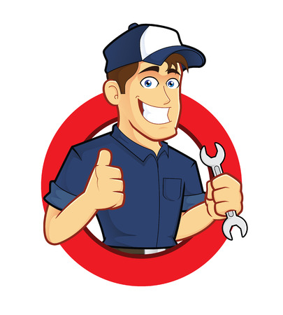 Mechanic with Circle Shape Vector