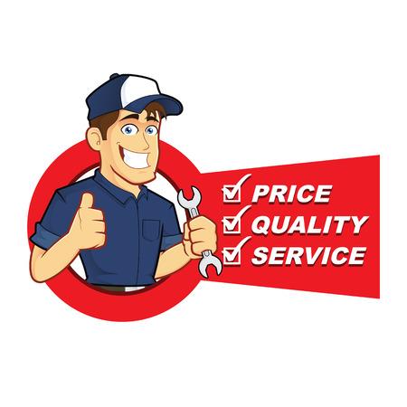 mechanic: Mecánico con Service List Vectores