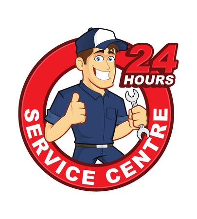 service center: Mechanic 24 Hours Service Centre Illustration