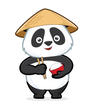 cuisine: Panda holding a bowl of rice and chopsticks Illustration