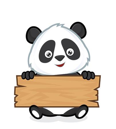 oso panda: Panda celebración de una tabla de madera Vectores