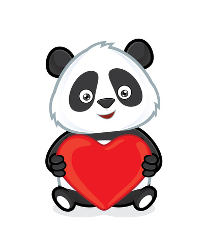 Panda holding heart love 일러스트