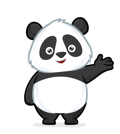 제스처를 환영하는 팬더 일러스트