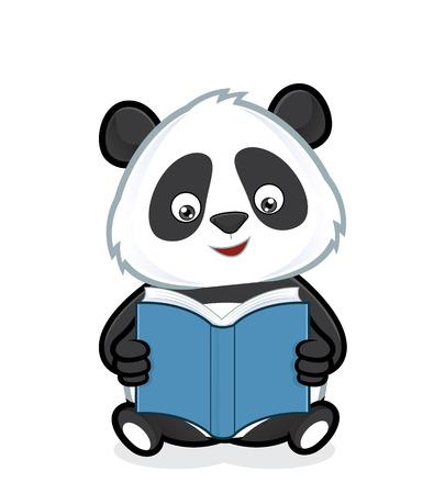 Panda reading a book