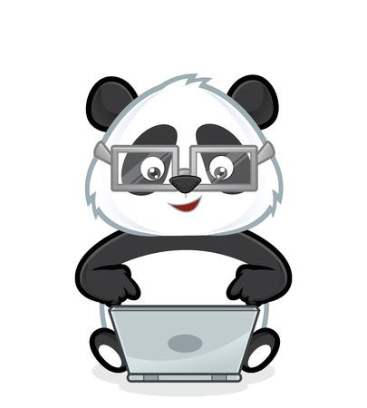 oso panda: Panda con el ordenador portátil