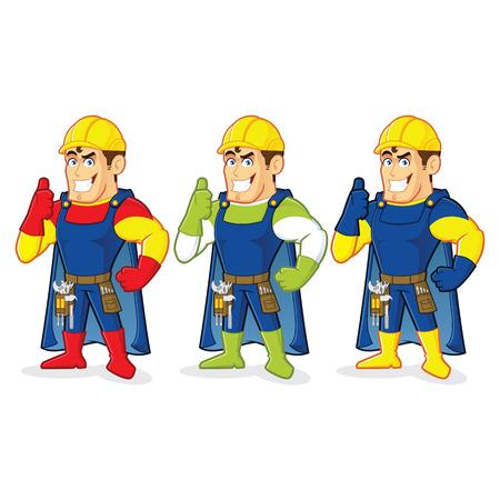Superhero bouw guy Stock Illustratie