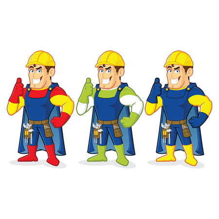 Superhero construction guy Stok Fotoğraf - 35307325