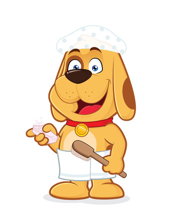Dog wears towel and shower cap Vector