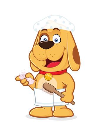 wears: Dog wears towel and shower cap