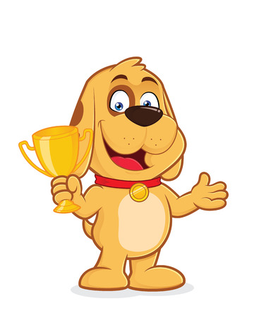 cute dog: Dog holding a trophy cup