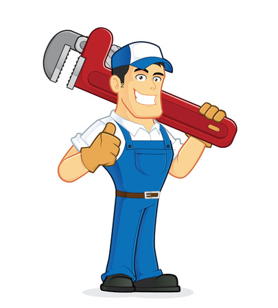 Plumber holding a huge pipe wrench Stock Illustratie