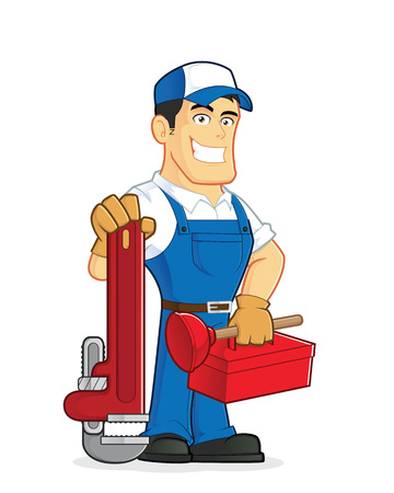 plumbers: Plumber holding tools Illustration
