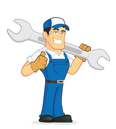 cartoon character: Mechanic or plumber holding a huge wrench