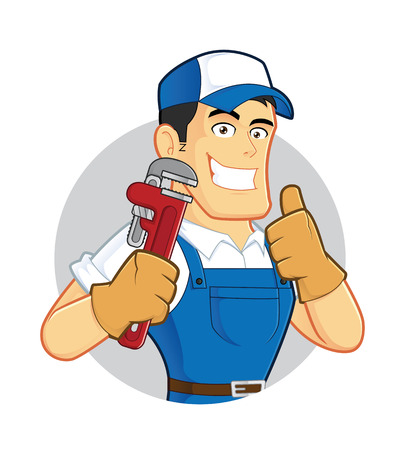 worker cartoon: Plumber holding a pipe wrench inside circle shape Illustration