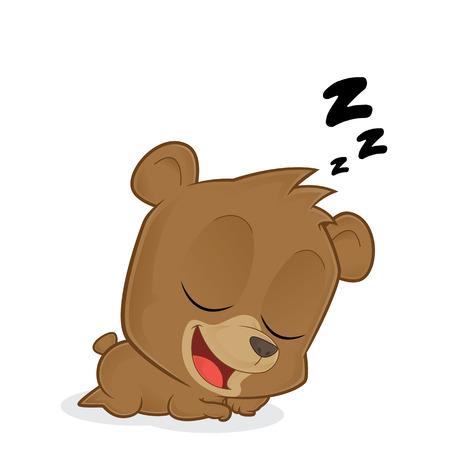 sleep cartoon: Sleeping bear