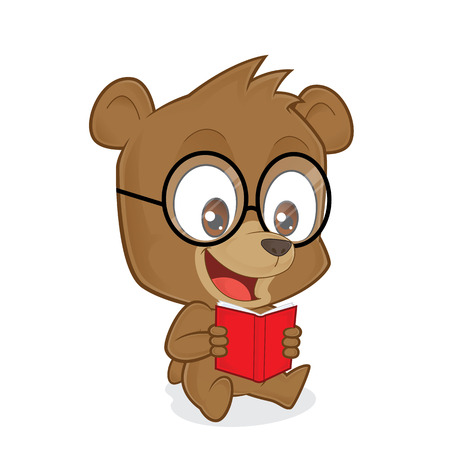 cartoon bear: Bear reading a book