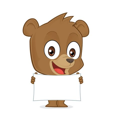 young animal: Bear holding a banner Illustration