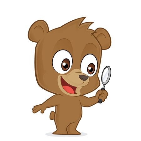 magnifying: Bear holding a magnifying glass Illustration
