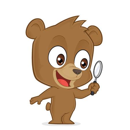 glass art: Bear holding a magnifying glass Illustration