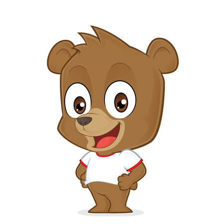 oso caricatura: Oso que lleva una camiseta blanca