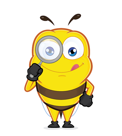 Bee holding a magnifying glass